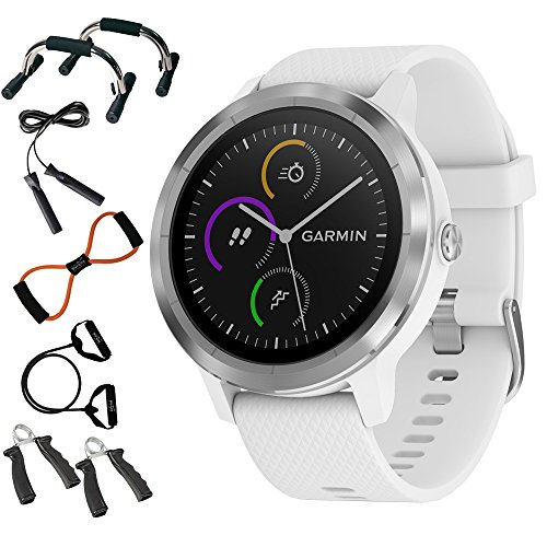 Garmin 010-01769-21 Vivoactive 3 GPS Fitness Smartwatch (White & Stainless) + 7-in-1 Total Resistance Fitness Kit by Beach Camera