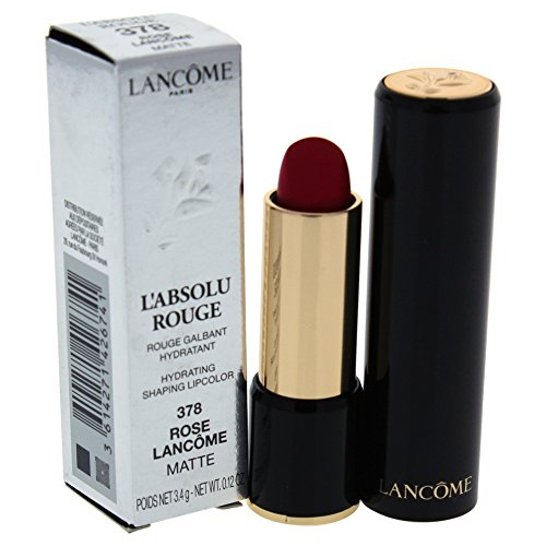 Lancome L'Absolu Rouge Hydrating Shaping Lip Color For Women, No.378 Rose Lancome Matte, 0.12 Ounce ()