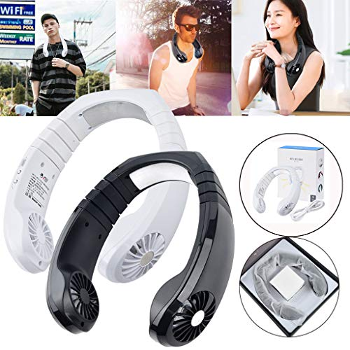 m·kvfa USB Physical Cooling Travel Hanging Neck Cooler Adjustable Earphone Design Sport Smart Fan for Camping Outdoor Event Trips Office Church (White)