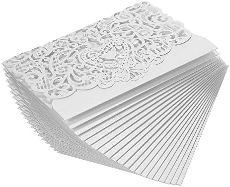 20pcs Set Wedding Invitation Card Cover Pearl Paper Laser