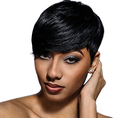 WTB Hair Short Synthetic Wigs For Black Women Black Cosplay Wigs with Free Wig Cap (Pixie Cut Dresses)