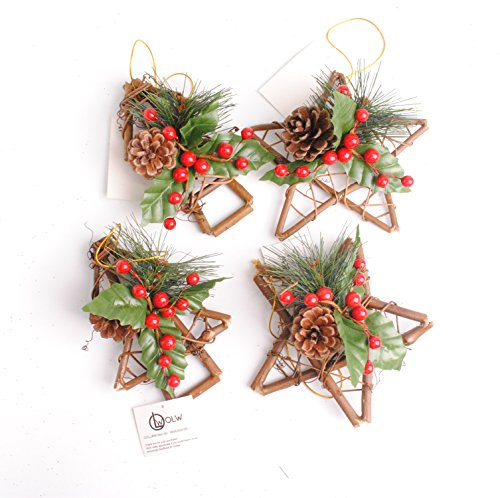 OOLLWW Handmade Artificial Christmas Accessories Decor Pine Cones, Red Berries Pack of 4 (Pinecone Berry Red)
