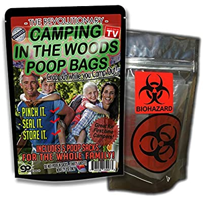 Camping in The Woods Poop Bags 5 Pack Funny Camping Gags for Outdoorsmen Gags for Teens Silly Stocking Stuffers for Dads Funny Poop Gags Glamping Camping Beginners Biohazard Bags for Home: Toys & Games