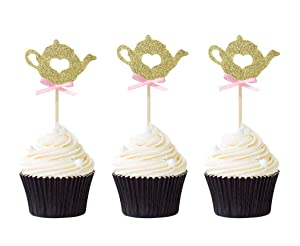 Pack of 24 Gold Glitter Teapot Cupcake Toppers Theme Party Decor Food Cake Picks
