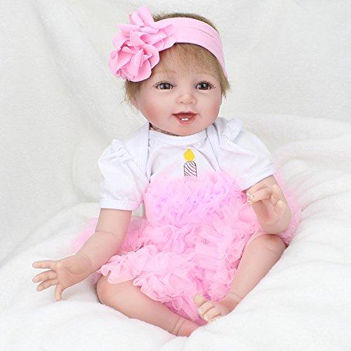 Reborn Baby Dolls Girls 22 Inch Eyes Open Reborn Dolls Realistic Vinyl Silicone Baby Doll Newborn Baby Babies Lifelike Real Baby Girl Doll Children toy -
