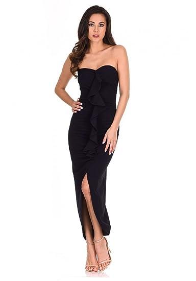 AX Paris Womens Bardot Frill Detail Midi Dress at Amazon Womens Clothing store: