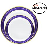 Tiger Chef Quality Reusable Plastic Dinnerware Set, Includes 20 10.25 inch and 7.5 inch Heavyweight Plastic China Like Plates - Gold and Blue Cobalt Trim - BPA FREE (40, Cobalt Plates)…