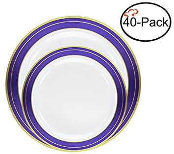 Tiger Chef Quality Reusable Plastic Dinnerware Set Includes 20 10.25 inch and 7.5 inch Heavyweight  sc 1 st  Amazon.com & Amazon.com: Tiger Chef Quality Reusable Plastic Dinnerware Set ...