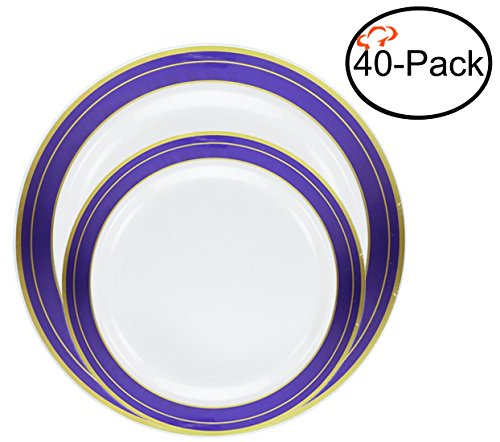 Amazon.com: Tiger Chef Quality Reusable Plastic Dinnerware Set ...