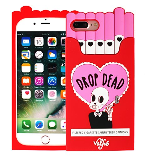 iPhone 7 Plus Silicone Case, iPhone 8 Plus Silicone Case, Soft 3D Cartoon Funny Flexible Protective Cover with Skull Drop Dead Cigarette Box Pattern Gift Design for Teen Girls ()