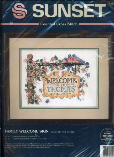 Sunset Counted Cross Stitch - Family Welcome Sign Designed by Dela (Welcome Counted Cross Stitch Pattern)