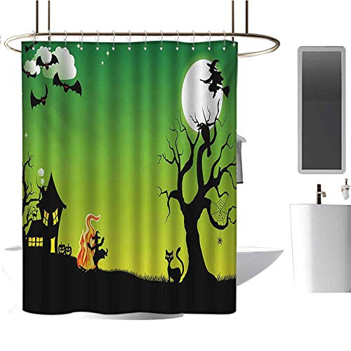 Stevenhome Halloween Shower Curtains Waterproof Witches Dancing with