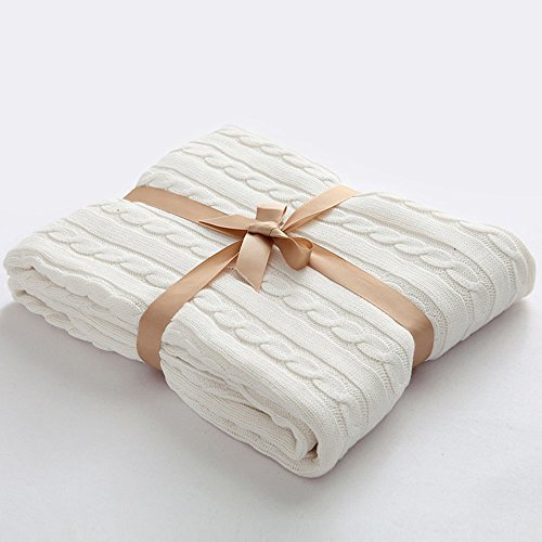 Prosshop Crocheted Blanket Handmade Super Soft Warm Twist Cotton Cable Knitting Throw Sleeping Cover Blanket Rug for Kids or Adults Bedroom Sofa/Bed/Couch/Car/ Quilt Living Room/ Office
