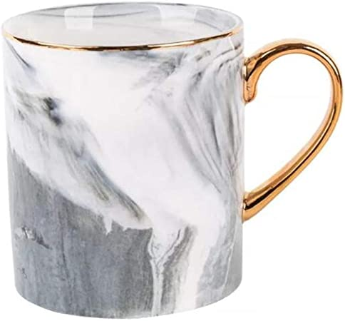 Marble Tea Cup Coffee Mug Grey Marbling Elegant Ceramic Mug Toshine Creative Coffee Mug for Breakfast Milk for Men Women 14 oz