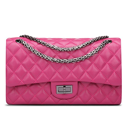 Leather Women's Purse Ainifeel Crossbody Hobo a Genuine Handbag Shoulder Pink Hot Quilted Bag 4EqTw6