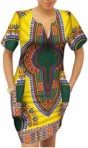 45a77402d12 Winwinus Women s Party Mulit Color Batik Dashiki African Print Mini Dress