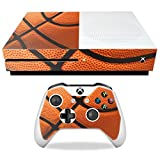 MightySkins Skin Compatible with Microsoft Xbox One S - Basketball   Protective, Durable, and Unique Vinyl Decal wrap Cover   Easy to Apply, Remove, and Change Styles   Made in The USA