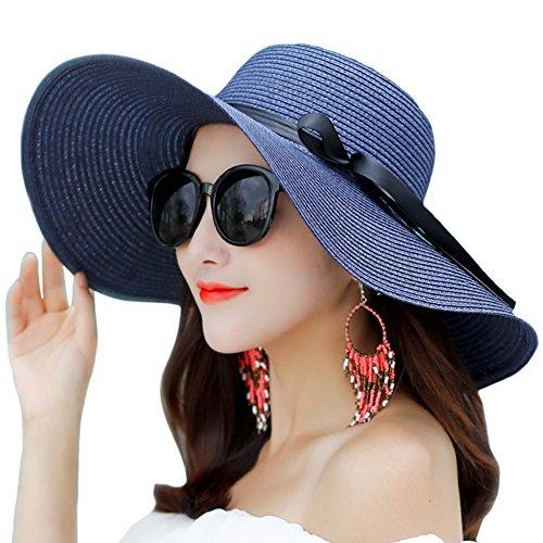 Itopfox Women's Big Brim Sun Hat Floppy Foldable Bowknot Straw Hat Summer Beach Hat Navy (Navy Sun Hat)