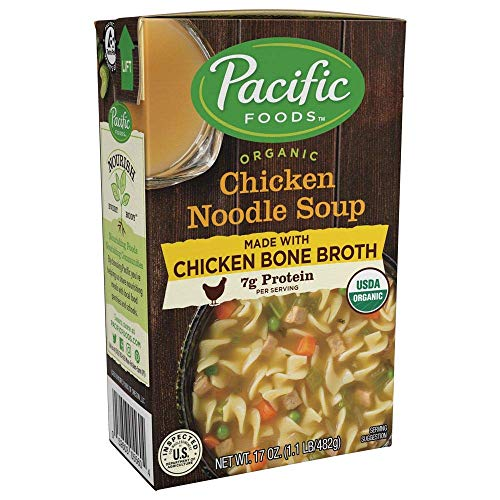 Pacific Foods Organic Bone Broth Chicken Noodle Soup, 7g protein per serving, flavorful and nutritious, 12-pack