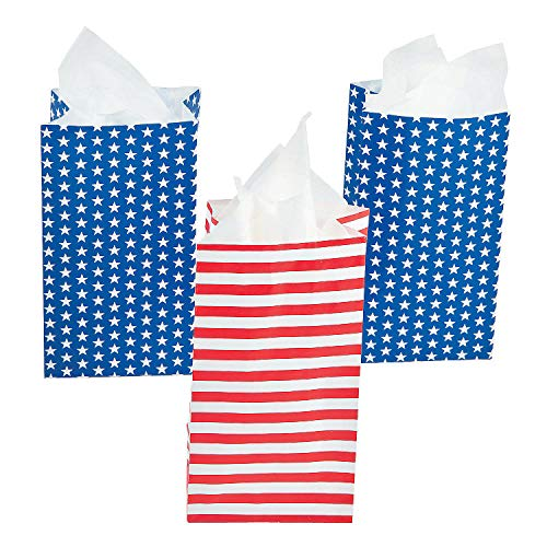 (Fun Express Mini Patriotic Treat Bags | 24 Count | Great Great for USA or 4th of July Themed Event, Birthday Party Favors, Loot Bag Prizes, Military Appreciation Day)