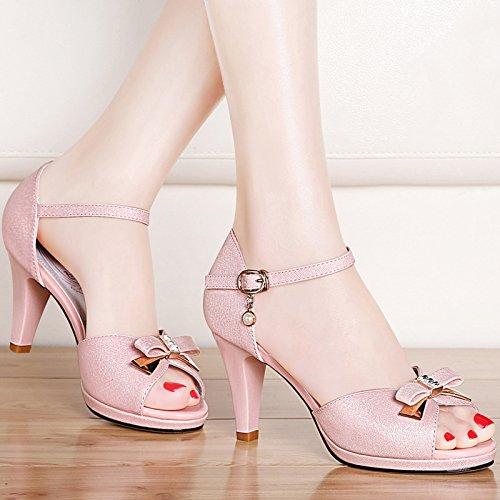 VIVIOO Sandalias De Mujer Sandalias De Tacón Alto Sandalias De Tacón Alto Con Sandalias De Boca De Pescado Mujer De Verano Con Zapatos De Mujer Sandalias De Tacón Alto Salvajes The pink B