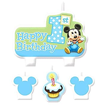 Amazon Com American Greetings Mickey Mouse 1st Birthday Candles Mickey Mouse Wishing Happy Birthday