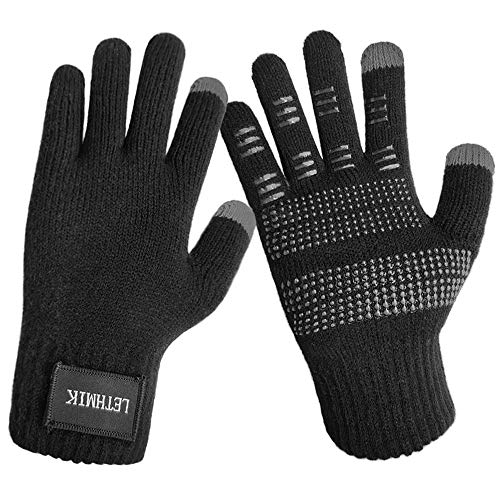 LETHMIK Womens Non-Slip Knit Winter Gloves,Solid Color Touch Screen Gloves Warm Wool Lined