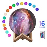 Moon Lamp, Kimfoxes 15CM 3D Moon Light Touch Sensor with Dock, LED Dimmable 16 Colors Changing Night Light Lamp for Baby Kids Home Bedroom Decorative, Christmas Gift (Colorful)