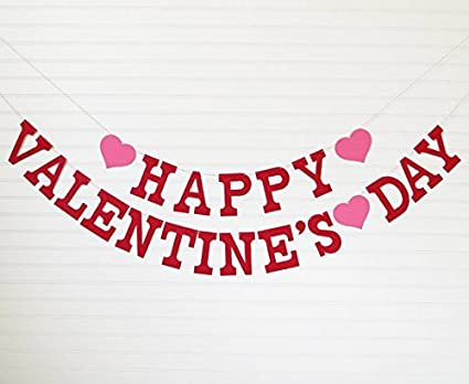 Amazon Com Happy Valentine S Day Banner Letters With Hearts