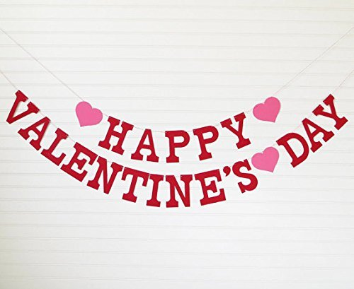 Happy Valentine's Day Banner - Letters with Hearts - READY TO SHIP - Valentines Day Decor Valentines Day Garland Happy Valentines Day