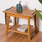 Bamboo Shower Seat Bench Bathroom Spa Bath Organizer Stool w/Storage Racks Shelf