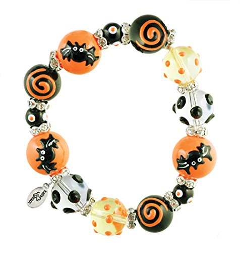 Clementine Design Kate & Macy Gone Batty Halloween Bracelet Painted Glass Beads Rhinestones
