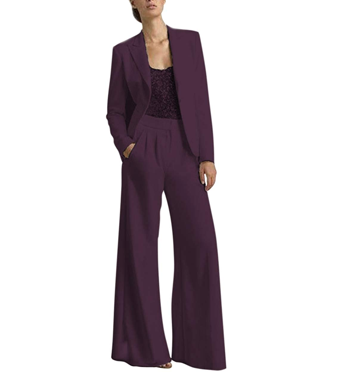Grape TBB Women's 2 Pieces Mother of The Bride Dress Pant Suits with Polyester Jacket Office Lady