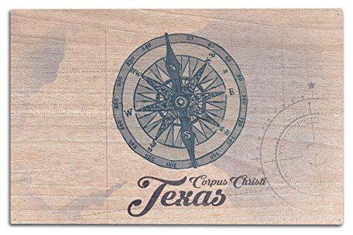 Lantern Press Corpus Christi, Texas - Compass - Blue - Coastal Icon (10x15 Wood Wall Sign, Wall Decor Ready to Hang)