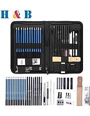Sketch Set di matite per artisti Kit da disegno in caso di cerniera con pad da disegno, tutti i materiali vari e materiali d'arte per la tua pittura