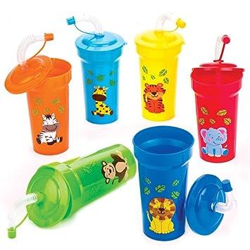 Baker Ross Vasos con Pajita Flexible de Animales de la Selva para Niños (Paquete de 6) Regalos Infantiles para Bolsas de cotillón