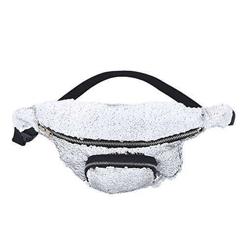 Waist Bag, Fashionable Women Sequins Pouch Pack Travel Cosmetic (White + Silver)