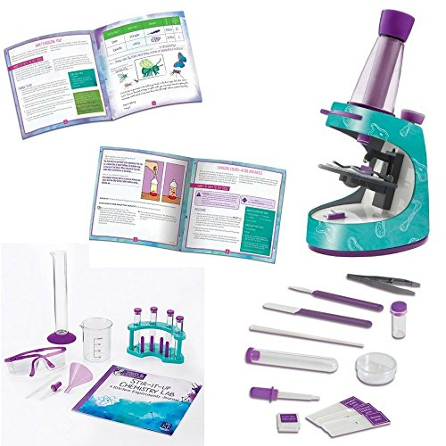 Educational Insights Nancy B's Science Club Microscope & Activity Journal, Stir-It-Up Chemistry Lab & Kitchen Experiments Journal, Learning at Home, Educational Toys For Kids, Kid Chemistry Kit, Set