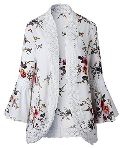 - RJXDLT Womens Floral Print Kimono Cardigan Loose Puff Sleeve Cardigans Lace Patchwork Cover Up Blouse Top White 2XL 213
