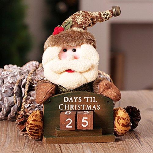 Ocamo Calendario de Escritorio con Muñeco,Decoración de Ventana con Escena Diseño Navidad Viejo Hombre,Ciervo y Muñeco de...