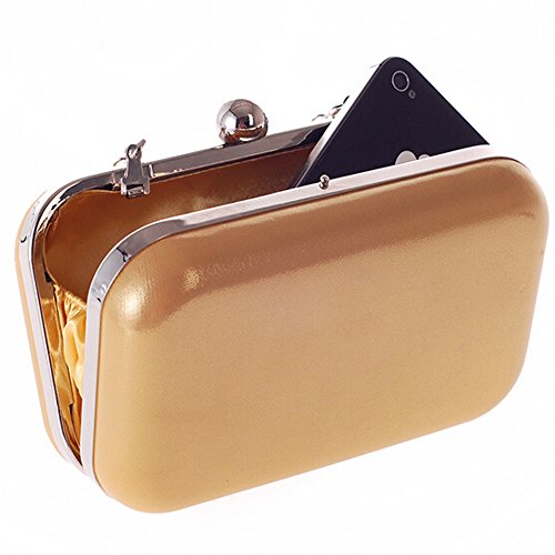 Women Handbag Wedding Bag Hattie Evening For PU Hard Gold Party Box Small Gold Shoulder YZpywdpqgx