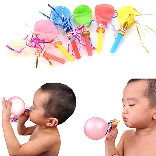 MAZIMARK-Ribbon Balloon Whistle Children Toy Horn Balloons Wedding Birthday Party 50X