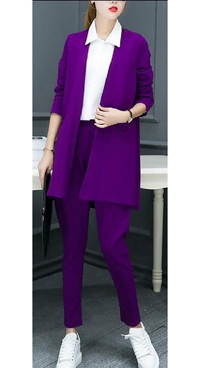 FLCH+YIGE Womens Business Two Piece Office Lady Suit Set Work Blazer and Pant