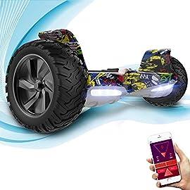 GeekMe Gyropode 8.5 Hoverboard Overboard Pouces Scooter Electrique Tout Terrain Scooter Auto-équilibré Electrique avec Moteur Puissant LED Bluetooth APP pour Adultes et Enfants