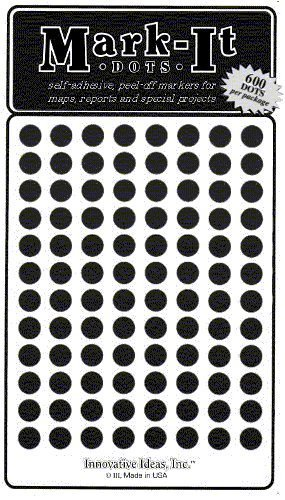 """Map Dot Stickers - 1/4"""" Diameter - Black by Innovative for sale  Delivered anywhere in Canada"""