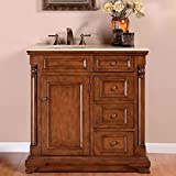 Silkroad Exclusive Off Center Single Left Sink Bathroom Vanity with Furniture Cabinet, 36-Inch