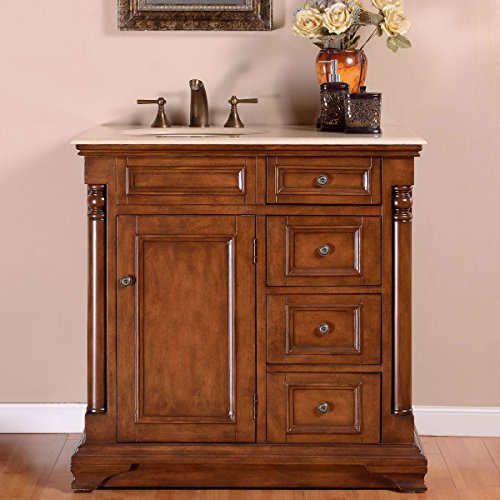 Silkroad Exclusive Off Center Single Left Sink Bathroom Vanity with Furniture Cabinet, 36-Inch by Silkroad Exclusive