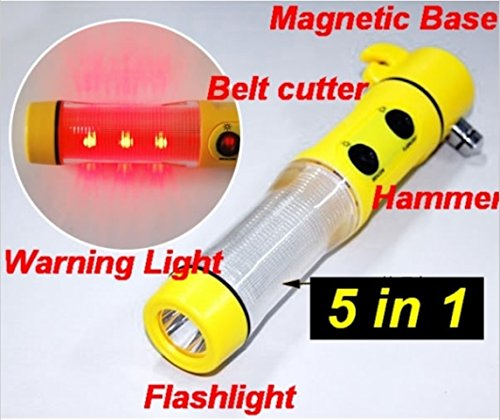 Hands Free Seat Belt Light (Giveumore 4-in-1 Multifunctional Car Emergency Escape Tool LED Flashlight Seatbelt Cutter Window Breaker Safety Hammer with Powerful Magnetic Base and Flashing Emergency Alarm Light Beacon Security Tool Life Saving)