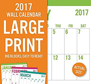 2017 monthly wall calendar jumbo large print calendar low vision easy to read. Black Bedroom Furniture Sets. Home Design Ideas