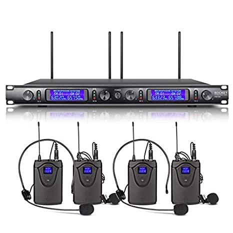 XTUGA EW240 UHF Rocket Audio 4 Channel Wireless Microphone System UHF  Wireless Microphone System Metal Receiver with 4 bodapack for Stage Church  Use